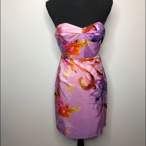 Ali Ro Floral Strapless Satin Sweetheart Dress 2